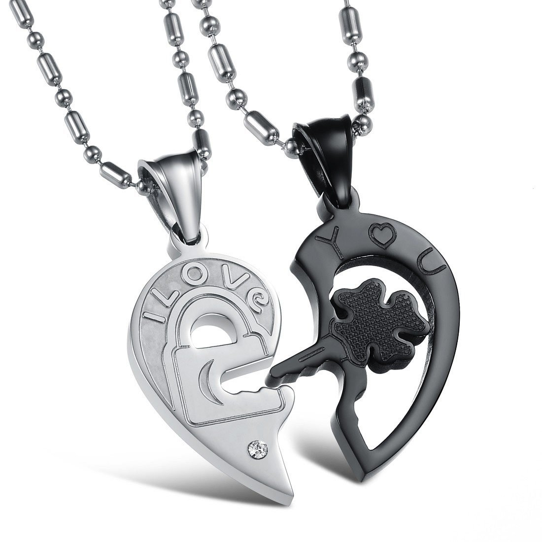 I Love You His & Hers Matching Set Titanium Key and Lock Heart Pendant Couple Necklaces(one pair) Yumily TGXL102002-1