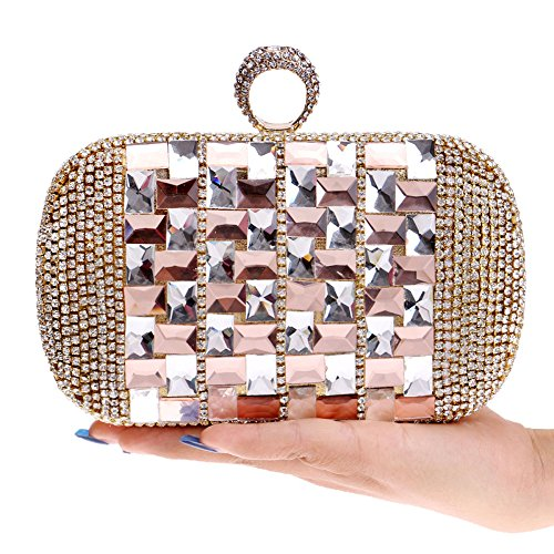 Champagne Evening Women's Diamond Clutch Shoulder Bag Dress Handbag Exquisite Bag Evening Cross Bridal FZHLY Gold Bag Bag Z4qwTYT