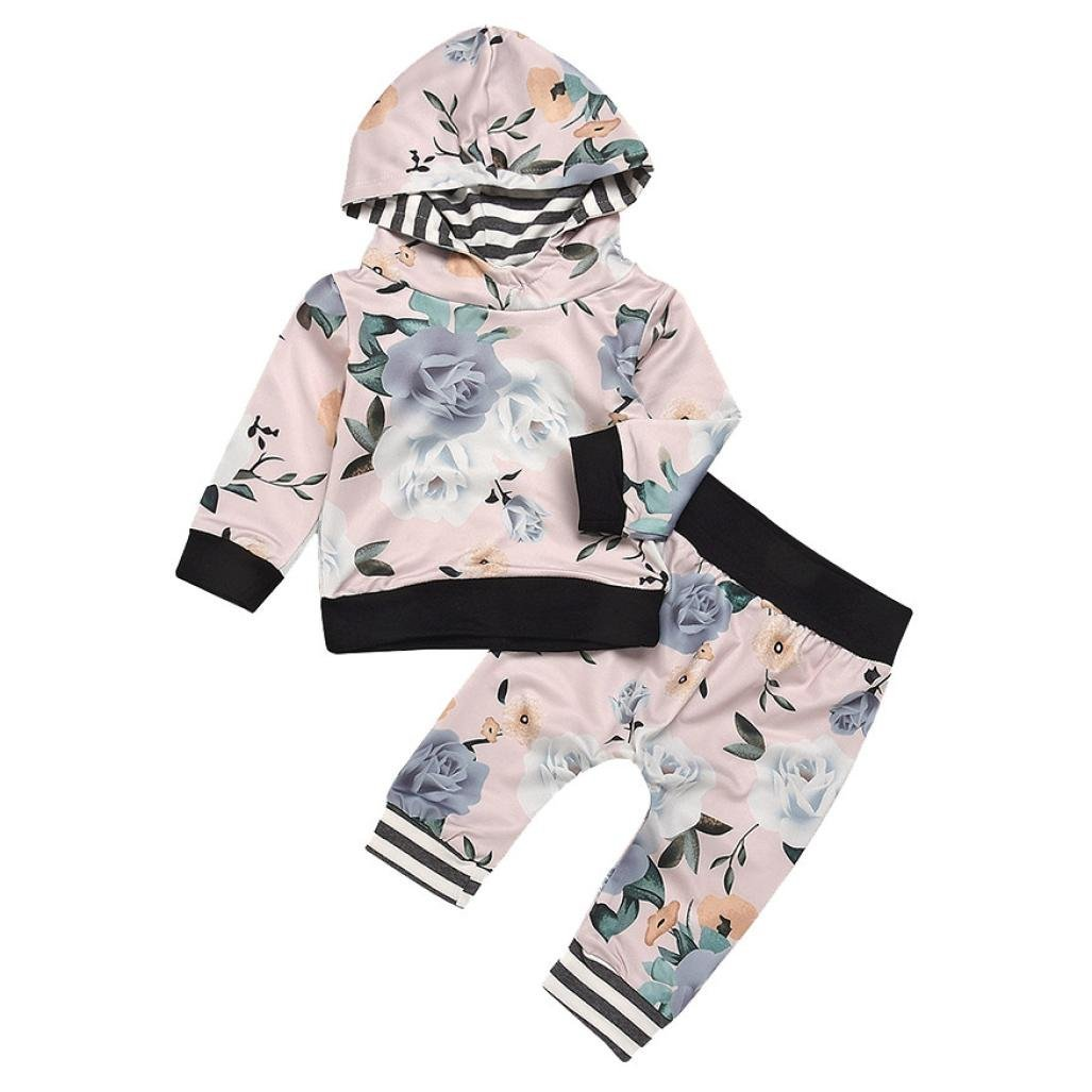 Jchen(TM) Hot Sales! for 0-24 Months Infant Baby Boys Girls Long Sleeve Striped Leaf Print Hooded Tops Pants Outfits (Age: 18-24 Months)