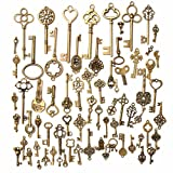 Image of KINGSO 70pcs Antique Vintage Bronze Skeleton Key Charms Set DIY Necklace Pendant Jewelry Making Supplies