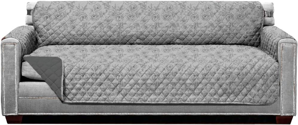 Sofa Shield Original Patent Pending Reversible X-Large Oversized Sofa Protector, Many Colors, Seat Width to 78 Inch, Furniture Slipcover, 2 Inch Strap, Couch Slip Cover Vintage Floral Lt Gray Charcoal