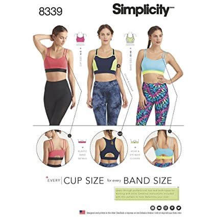 c1e5704decb Image Unavailable. Image not available for. Color: Simplicity Sewing Pattern  D0644 / 8339 - Misses' Knit Sports Bras ...