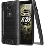 Huawei Sensa LTE Case With TJS Tempered Glass Screen Protector, Dual Layer Hybrid Shockproof Resist Rugged Case Cover Metallic Brush Finish With Hard Inner Layer For Huawei Sensa LTE (Black)