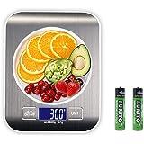 Báscula Digital para Cocina, Plataforma de Acero Inoxidable, con Gran Pantalla LCD e Almohadillas Antideslizantes, Color Plat