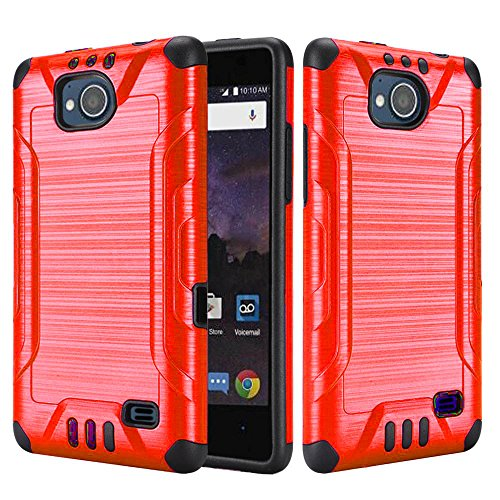 [World Acc] For ZTE Tempo Case / ZTE Majesty Pro LTE Case Slim Dual Layer Brushed Metal Texture High Impact Armor Hybrid TPU Combat Phone Cover (Red/Black)