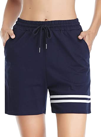 Doaraha Pantalones Corto Chandal Mujer 100% Algodón Raya Pantalon Corto Pijama Pantalones Deporte Cortos para Fitness, Jogging: Amazon.es: Ropa y accesorios