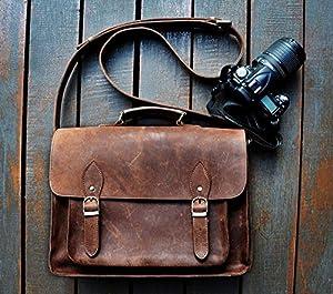 Amazon.com : FeatherTouch Genuine Leather Camera Bag Messenger Bag ...