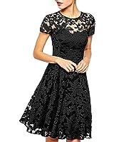 AIYUE Abito Donna Breve Vestito Gonna Volant Floreale Maniche Corte Collo Rotondo Pizza Chiffon Miniabito Sera Coctail Party Dress