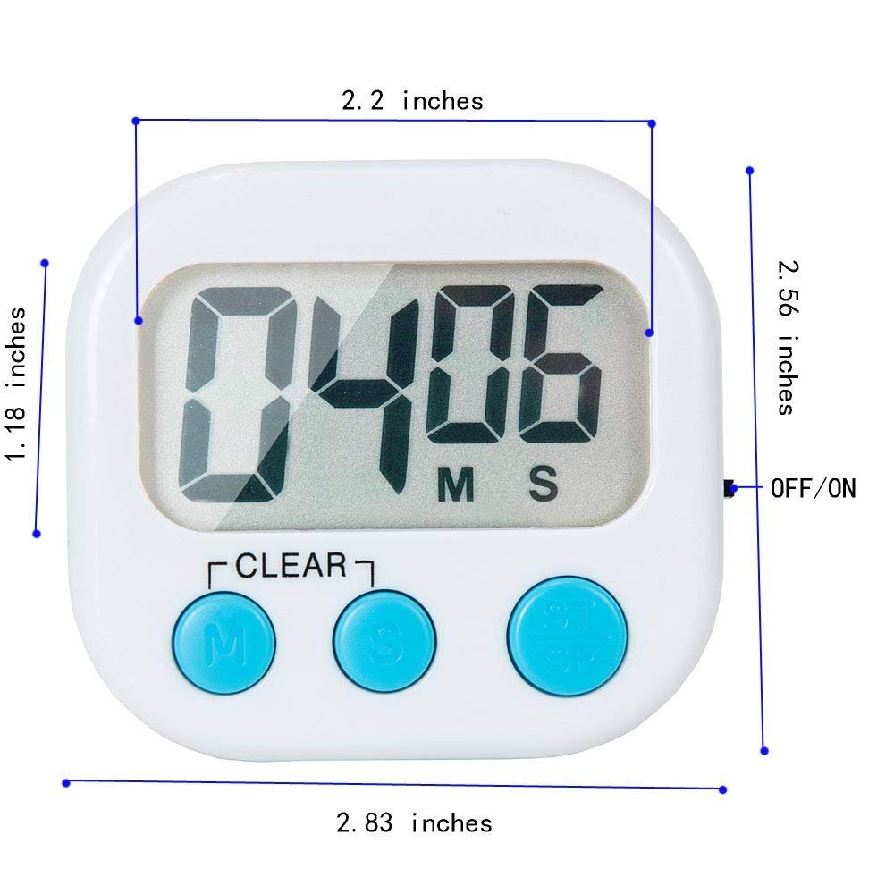 6 Pack Small Digital Kitchen Timer Magnetic Back And ON/OFF Switch,Minute Second Count Up Countdown by LinkDm (Image #4)