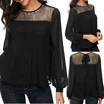 Women Ladies Hollow Lace Flower Shirt O-Neck T-shirt Long Sleeve Tops Blouse