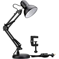 ZeroPlusOne® Swing Arm Desk Lamp, E27 Bulb Socket, Flexible Clamp on Table Lamps, Black Painted Classical Bedside Lamp…