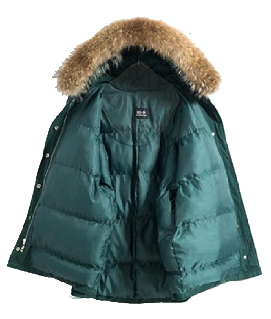 Blackish Green omniscient Women's Fur Hoodie Winter Parka Puffer Linen Outwear Down Coat