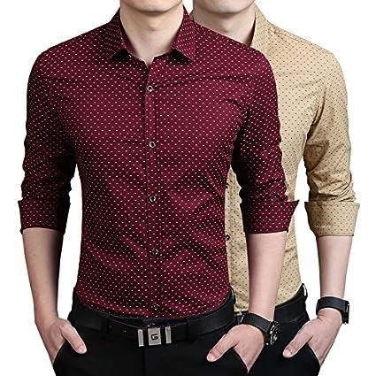 2d7e90a0b Amazon.com: 100% Cotton Fashion Brand Dress Shirts Men Casual Print ...