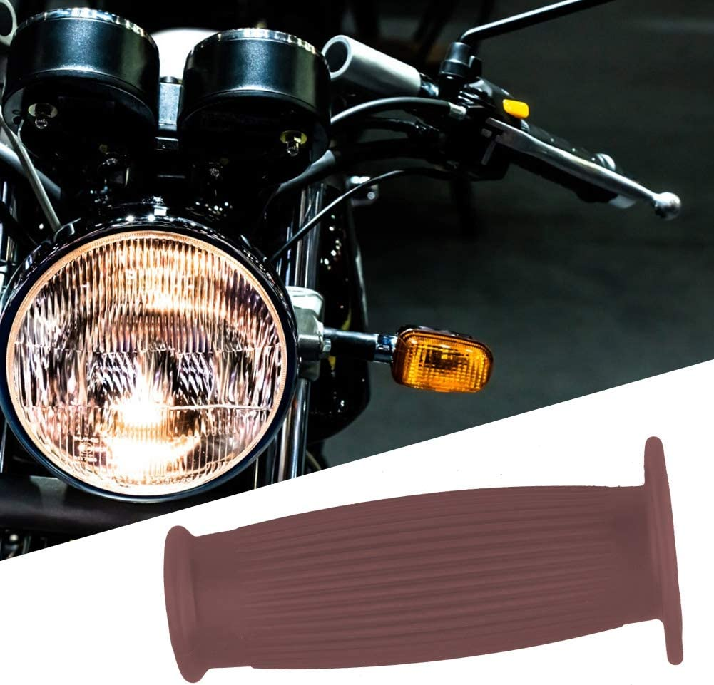 Akozon Pair of 1inch 25mm Universal Motorcycle Vintage TPU Handle Handlebar Grip Black