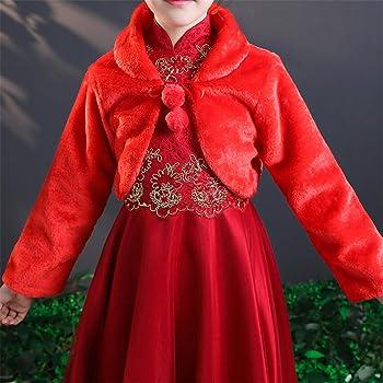 Ommda Faux Fur Long Sleeve Flower Girls Bolero Shrug Cape Jackets for Wedding
