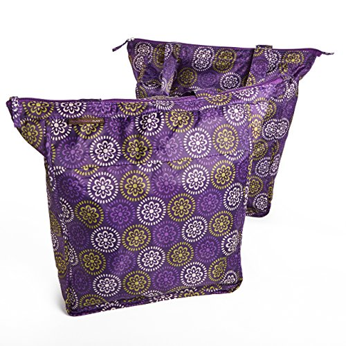 (Rachael Ray Market Tote Bags, Set of 2 Reusable Grocery/Shopping Bags, Zipper Top, Foldable, Purple Floral Medallion)