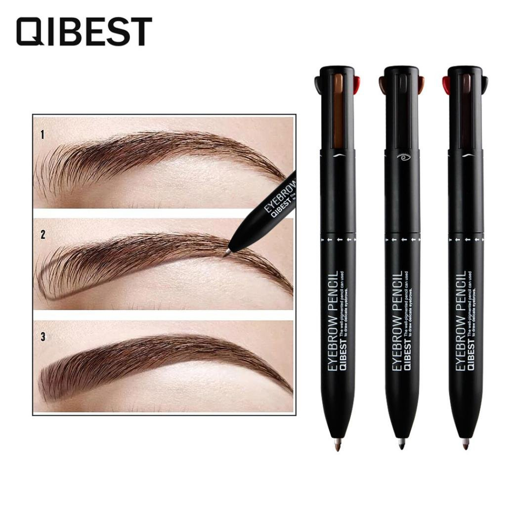â¤JPJ(TM)❤️ Eyebrow Pen,Girls Creative 4 In 1 Waterproof Lip Liner Pencil Long Lasting Natural Lipliner Eyebrow Pencil Beauty Makeup Best Tool for Your Eyebrow (Black)
