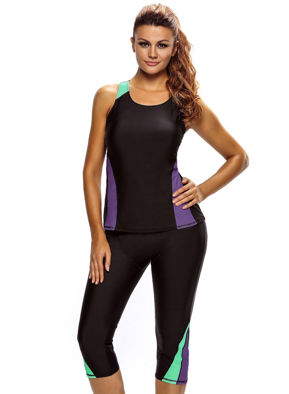 ZKESS Women Color Blocked Swim Leggings Capri Pants Tankini Tops 2PC Swimsuit Surfing Swimwear Small Size Multicoloured