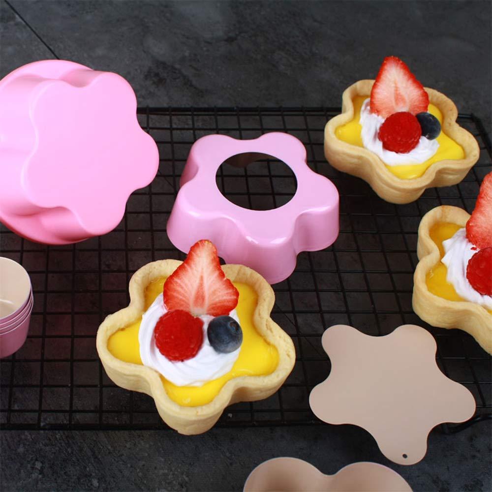 6/pcs 8,9/cm Rev/êtement antiadh/ésif Mini Assiette /à tarte r/éutilisables avec moule /à fond amovible Flower Bottom