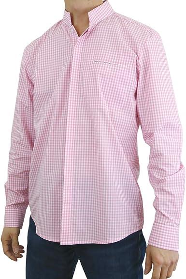 Sinologie - Camisa de Vestir - Cuello Alto - para Hombre Rosa XL: Amazon.es: Ropa y accesorios