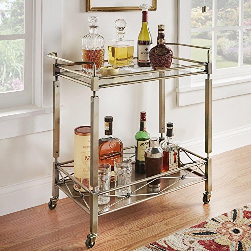 Gold 2-Shelves Mobile Bar Cart with Casters, Tempered Glass Top, Antique Brass Finish and Made From Metal, Vintage Style Included Cross Scented Candle Tart