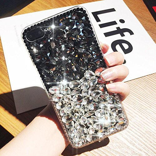 Price comparison product image iPhone X Case, iPhone X Diamond Case, iPhone X Cover, ikasus 3D Handmade Bling Rhinestone Diamond Luxury Sparkle Rhinestones Case Full Crystals Bling Diamond Case Cover for Apple iPhone X, Black+Clear