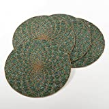 4 Piece Green Gold Geometric Pattern Placemats Set, Beautiful Glass Beaded Textured Design Round Shape Reversible Place Mats, Features Hand Wash, Easy Clean, Synthetic Fiber, For All Seasons