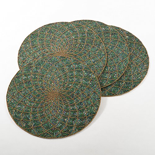 4 Piece Green Gold Geometric Pattern Placemats Set, Beautiful Glass Beaded Textured Design Round Shape Reversible Place Mats, Features Hand Wash, Easy Clean, Synthetic Fiber, For All Seasons by N2