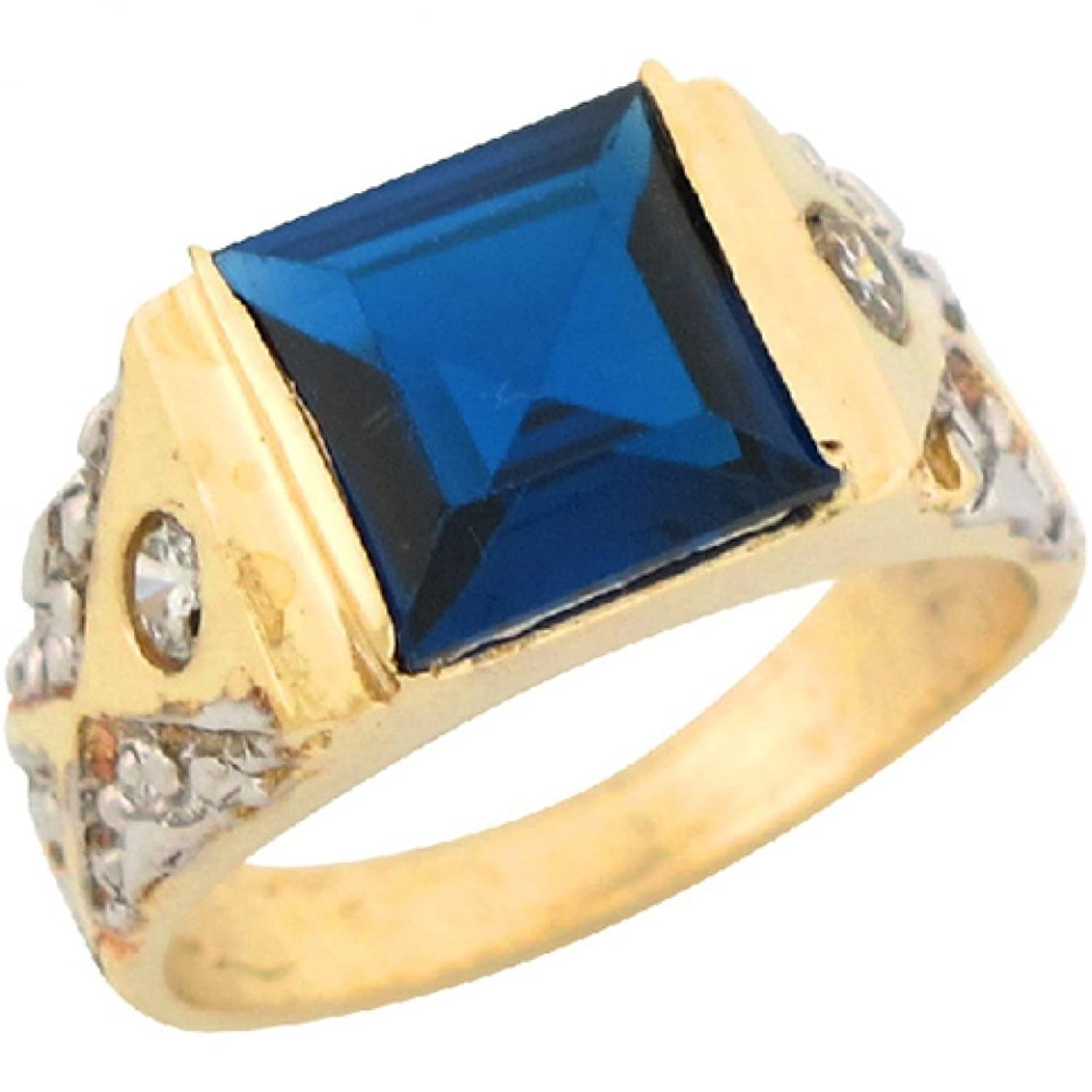 14k Real Two Toned Gold 2.48ct Blue CZ Etched Band Childrens Ring