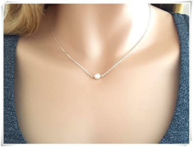 ddd7c3c0a92e2 Amazon.com: Tiny, Pearl, Silver, Necklace, Pearl, Necklace, Dainty ...