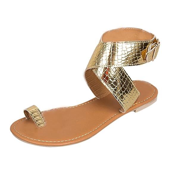 OverDose Sandales Plates en Cuir Métallisé, Été Femme Chaussures Bride Cheville avec Boucles Style Western Flat Flip Flops Tongs