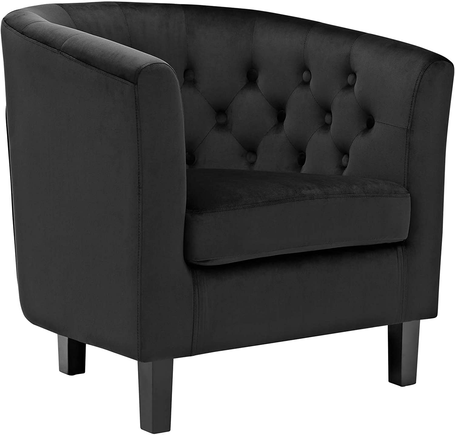 Modway Prospect Upholstered Velvet Contemporary Modern Accent Arm Chair in Black