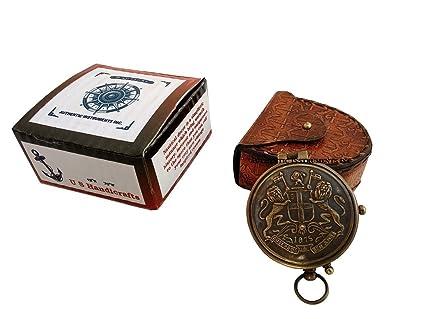 Maritime Compasses Maritime Beautiful Nautical Brass Compass Marine Flat Compass With Wooden Box Camping Compass Gift