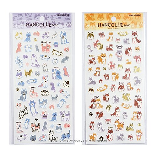Kamio Japan Japanese Stamp Style Foil Stamping Paper Washi Mini Sticker Sheets (Shiba inu [ 00815 ] + Cats [ 00816 ] - 122 Stickers) - Shiba Inu Cats