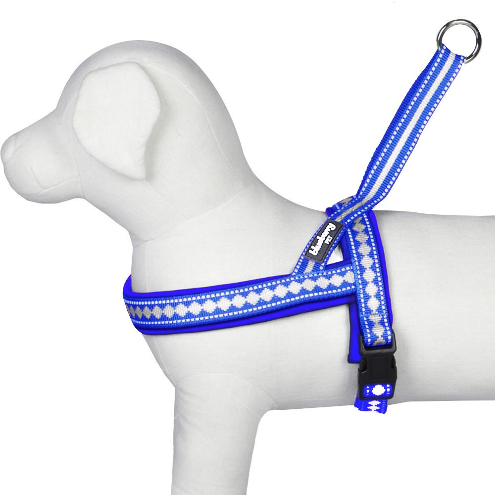 Blueberry Pet 7 Colors Soft & Comfy 3M Reflective Jacquard Padded Dog Harness, Chest Girth 25.5'' - 31.5'', Palace Blue, M/L, Adjustable Harnesses for Dogs by Blueberry Pet (Image #5)