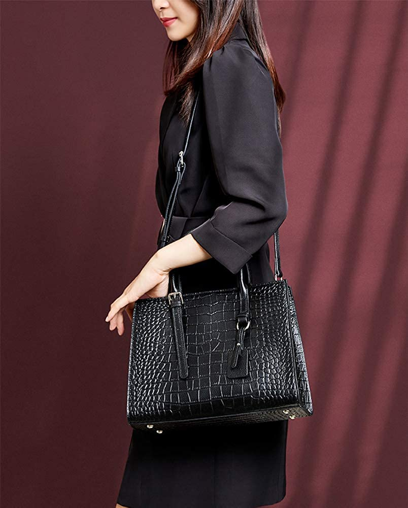 STILORD Samira Handbag Women Leather Small Vintage Ladies Tote Bag Satchel Crossbody Saddle Bag Bag Ladies in Genuine Leather Colour:Black