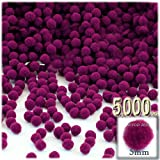 The Crafts Outlet Polyester Pom Poms, solid Color, 5mm/0.20-inch, 5000-pc, Fuchsia