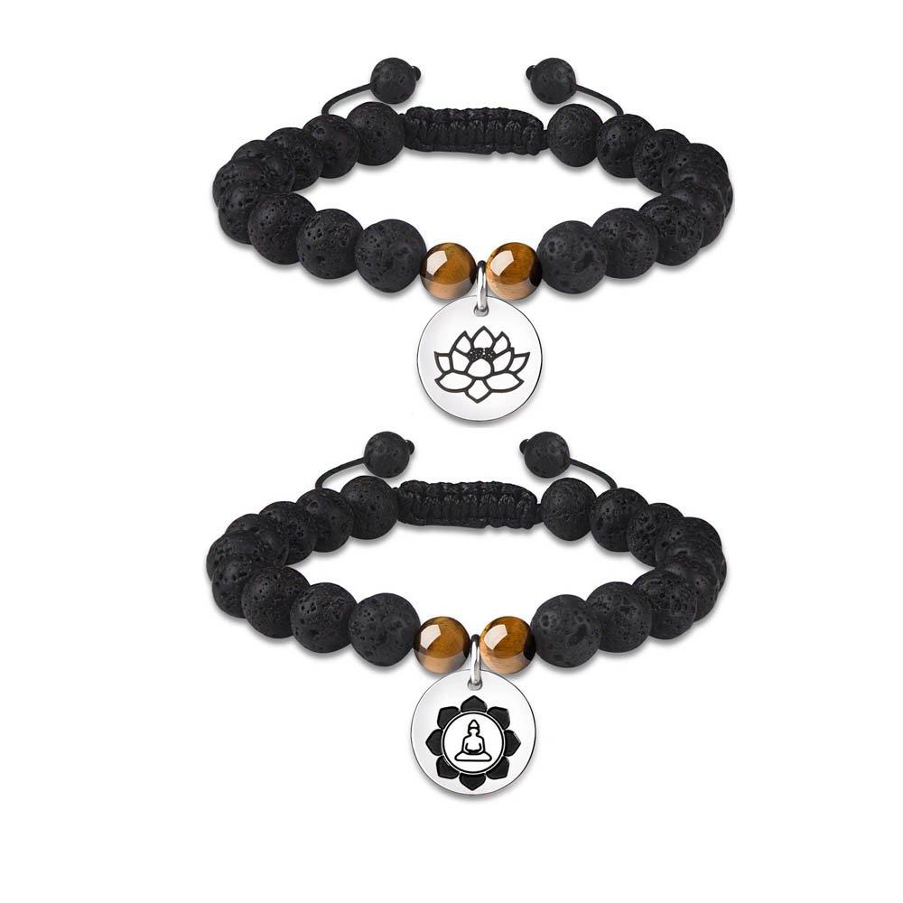 Essential Oil Diffuser Bracelets for Women Lava Rock Bead Stone Adjustable Healing Spiritual Protection Lotus Buddha Meditation Health Pack Set