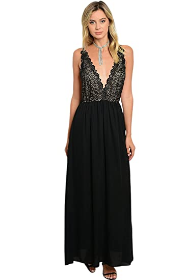Sexy Black Lace Plunge Strappy Backless Maxi Dress Gown Cocktail
