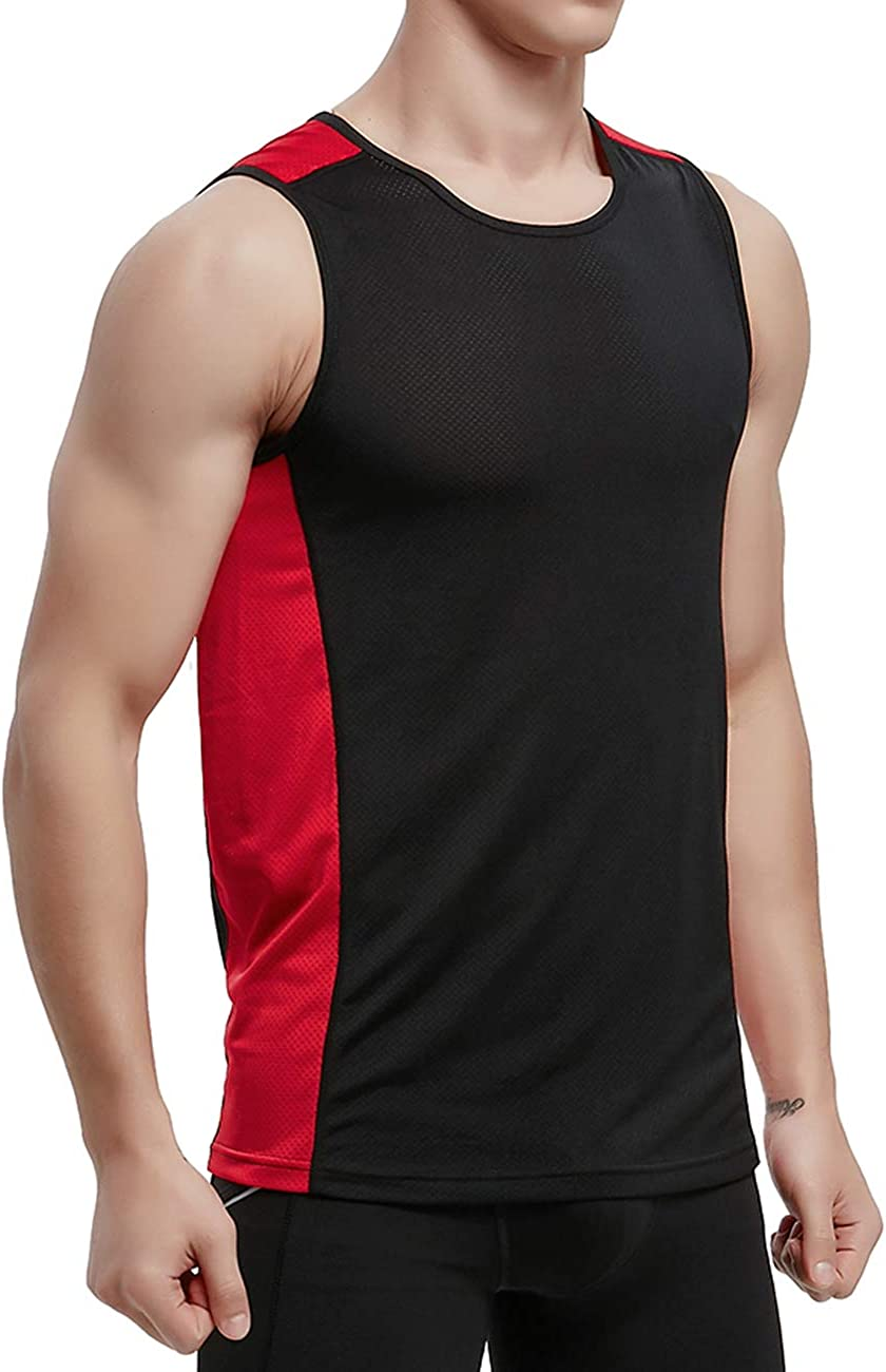 APRAW Men's Basketball Muscle Tank Top Mesh Quick Dry Fit Performance Gym Workout Sleeveless Shirts