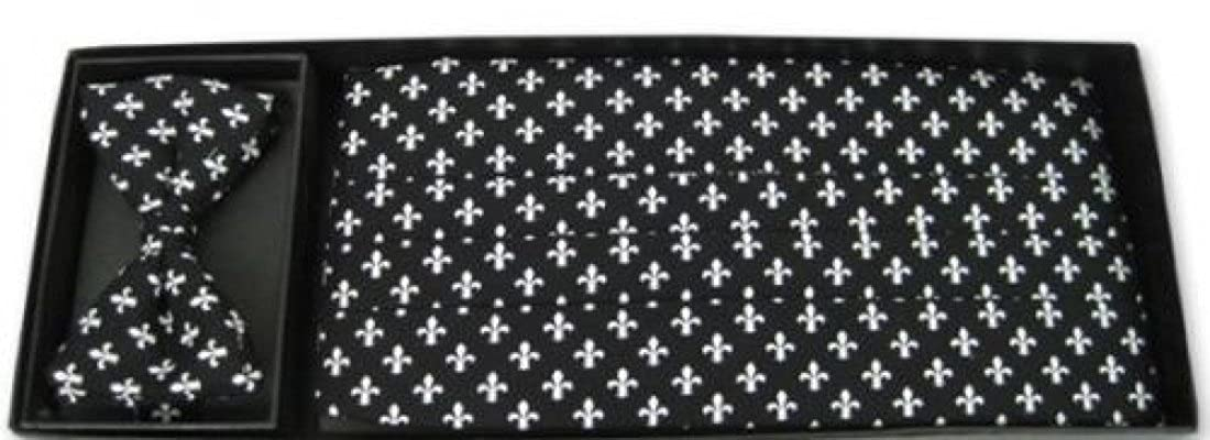 Mardi Gras Black and White Fleur de Lis Cummerbund and Bow Tie
