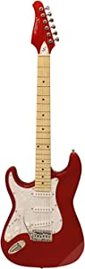 Sawtooth Left Handed ST Style Electric Guitar Candy Apple Red w/Pearl White Pickguard