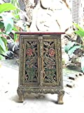 Thai Antique Handmade Furniture Bird Gold and Glass Storage Cabinet/Nightstand, Home Decor, 25''H x 10.5''W x 14.5''L. Thailand Work Art By WADSUWAN SHOP.