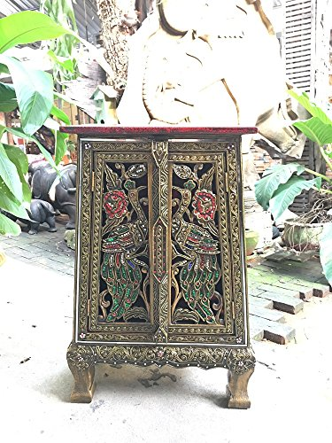 Thai Antique Handmade Furniture Bird Gold and Glass Storage Cabinet/Nightstand, Home Decor, 25''H x 10.5''W x 14.5''L. Thailand Work Art By WADSUWAN SHOP. by WADSUWAN SHOP