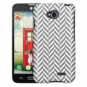 LG Ultimate 2 Case, Slim Fit Snap On Cover by Trek Chevron Mini Pewter White Case