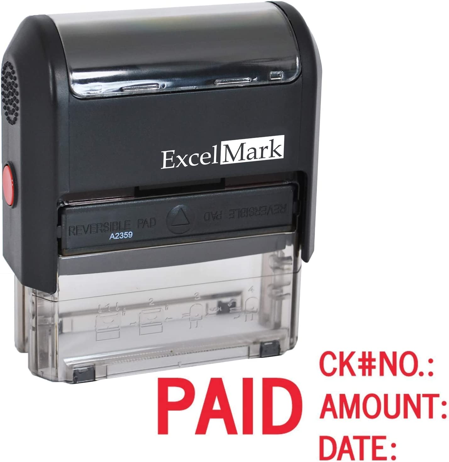 Paid with Check No, Amount, Date - ExcelMark Self Inking Rubber Stamp - A2359