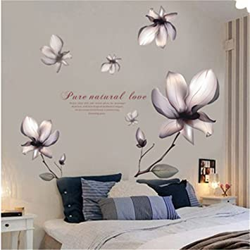 Gtnine Purple Flowers Vinyl Wall Decals Modern Wall Art Wall Murals Wall Stickers For Living Room Bedroom Kitchen Wall Decor Home Window Glass