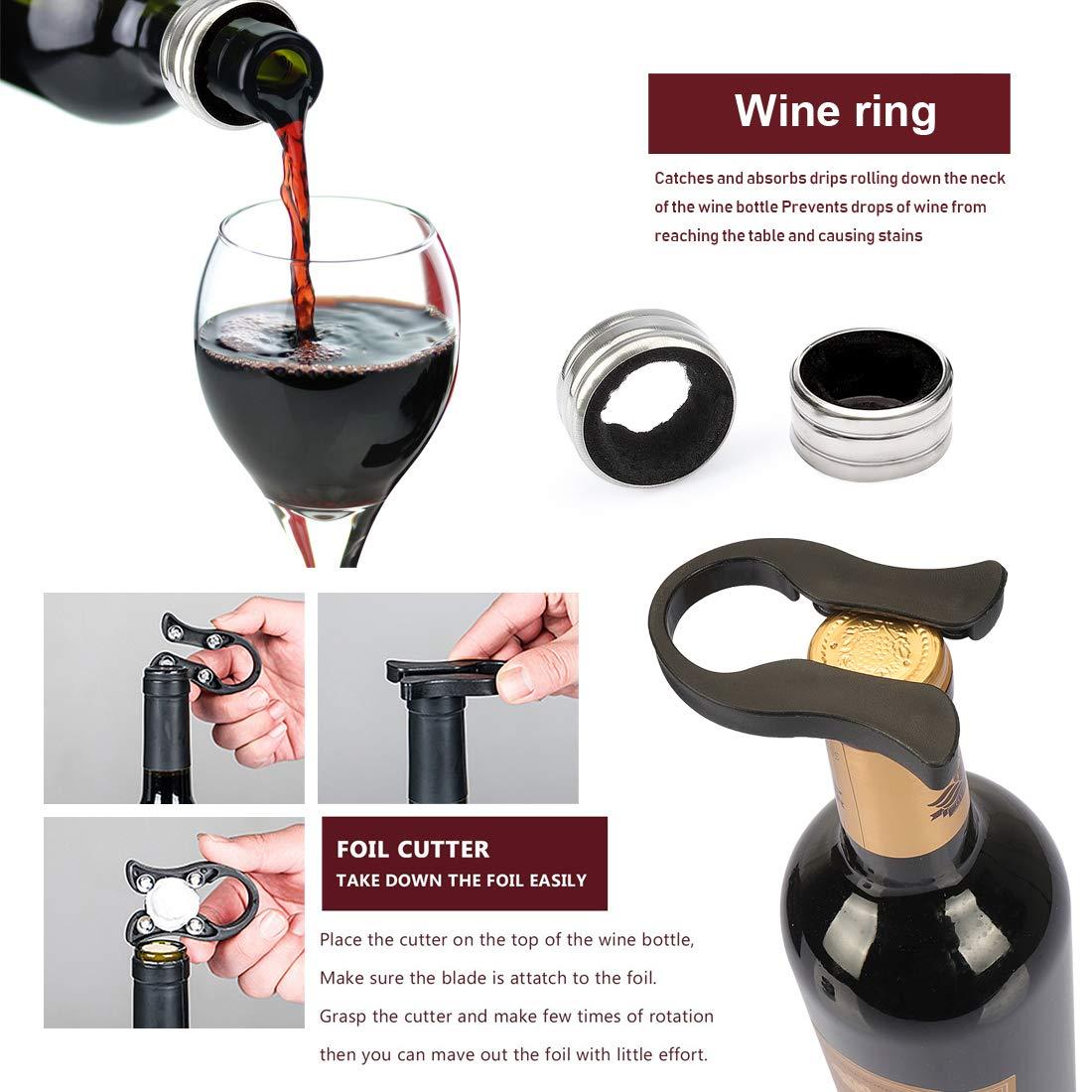 a/érateur de vin Coffret cadeau Tire-bouchon de vin bouteille de vin Opener kit Wine Saver Bouchon Yobansa/® Bambou Bo/îte /à vin Opener Jeu d/échecs de lapin Ensemble daccessoires de vin