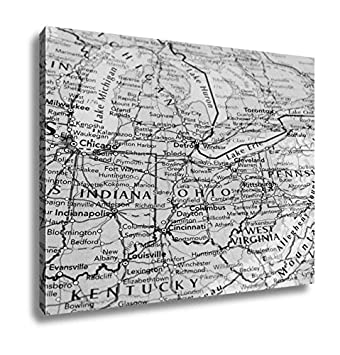 Ashley Ohio Map.Amazon Com Ashley Canvas Map Of The Ohio State With Selective Focus
