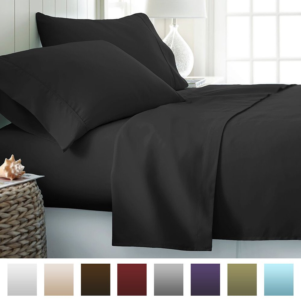 Home Beckham Luxury Soft Brushed Bed Sheet Set Deep Pocket, Queen, Black